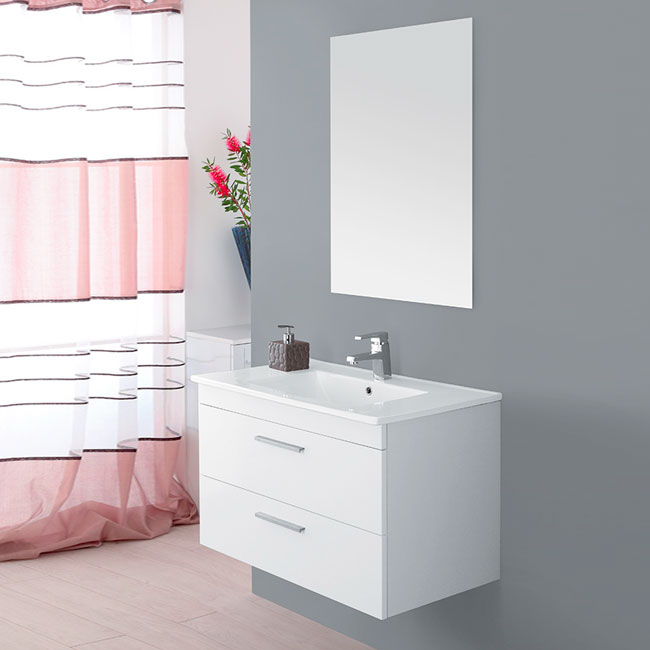 Arredo Bagno Feridras.Feridras Arredo Bagno Suspended Bathroom Composition 81 Cm With Sink And Mirror Stella L 81 X H 51 Cm