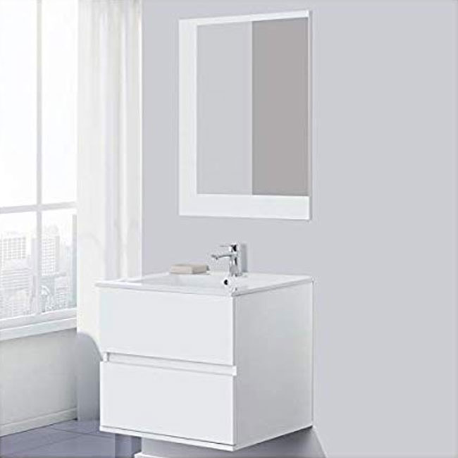 Feridras Arredo Bagno 60 Cm Bathroom Composition Suspended With Sink And Mirror Fabula 60 White Lacquered Www Smart Issima Com