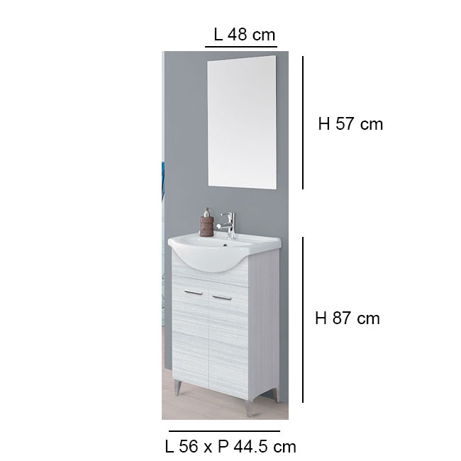 Arredo Bagno Feridras.Feridras Arredo Bagno Bathroom Composition 56 Cm From The Floor 2 Doors With Sink And Mirror Stella L 56 Cm