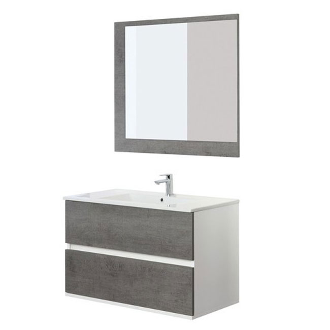 Arredo Bagno Feridras.Feridras Arredo Bagno Bathroom Composition 90 Cm Suspended 2 Drawers With Sink Mirror And Hanging Column Fabula 90
