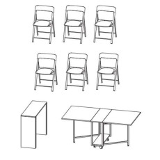 Pezzani Fixed console with folding table and 6 folding chairs (mixed colors) Archimede + Zeta Matt White