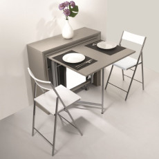 Pezzani Fixed console with folding table and 6 folding chairs Archimede + First dove gray