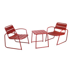 Vacchetti Metal Coffee Table with 2 Armchairs Bistro
