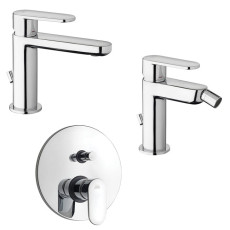 Paffoni Faucet set Washbasin mixer and Bidet Mixer with automatic pop-up waste and built-in shower mixer 2 exits Candy
