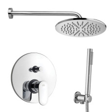 Paffoni Shower set with shower arm, overhead shower, hand shower and built-in shower mixer 2 exits  Candy
