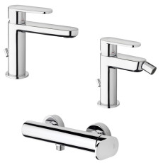 Paffoni Faucet set Washbasin mixer and Bidet mixer with automatic pop-up waste and Shower mixer without hand shower Candy