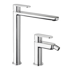 Paffoni Tap set Extended washbasin mixer and Bidet mixer without waste Candy