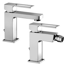 Paffoni Faucet set with basin mixer and bidet mixer with pop-up waste Effe