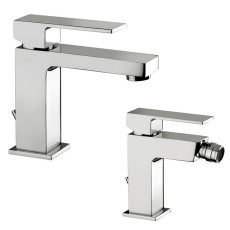 Paffoni Faucet set Washbasin mixer and Bidet Mixer with pop-up waste with automatic drain Elle