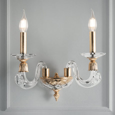 Lux Wall lamp with lampshade in gold leaf Otello 2 lights E14 H 23 cm