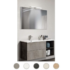 Bathroom composition Delia L 100 cm with sink on the left, mirror and lamp Savini