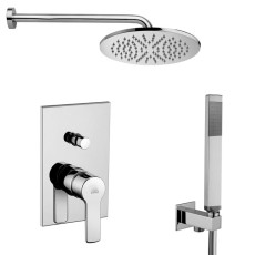 Paffoni Faucet set Built-in shower mixer (2 outlets) Red, LUXURY shower arm, WIND shower head and QUADRO hand shower