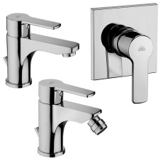 Paffoni Faucet set Wash basin, bidet and concealed shower mixer (1 outlet) Red