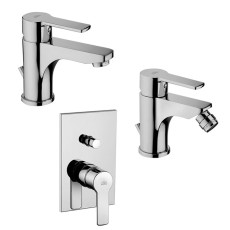 Paffoni Faucet set Wash basin, bidet and concealed shower mixer (2 outlets) Red