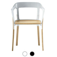 Magis Chair Steelwood Chair with armrests to be mounted H 76 cm L 55 cm, structure in natural beech