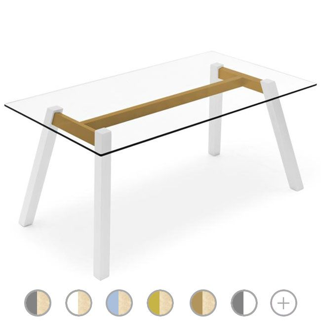 Connubia by Calligaris T-Table rectangular Table L 160 cm glass top